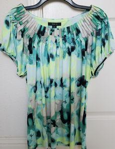 Style & Co Aqua/Yellow Short Sleeve Blouse